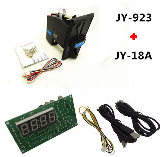 JY923 coin operated multi coin selector acceptor with JY18 USB timer board time control  ...