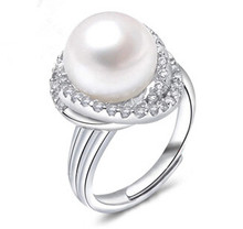 2015 New arrival hot sell fashion 11mm pearl flower ring 925 sterling silver ladies`adjustable rings jewelry gift