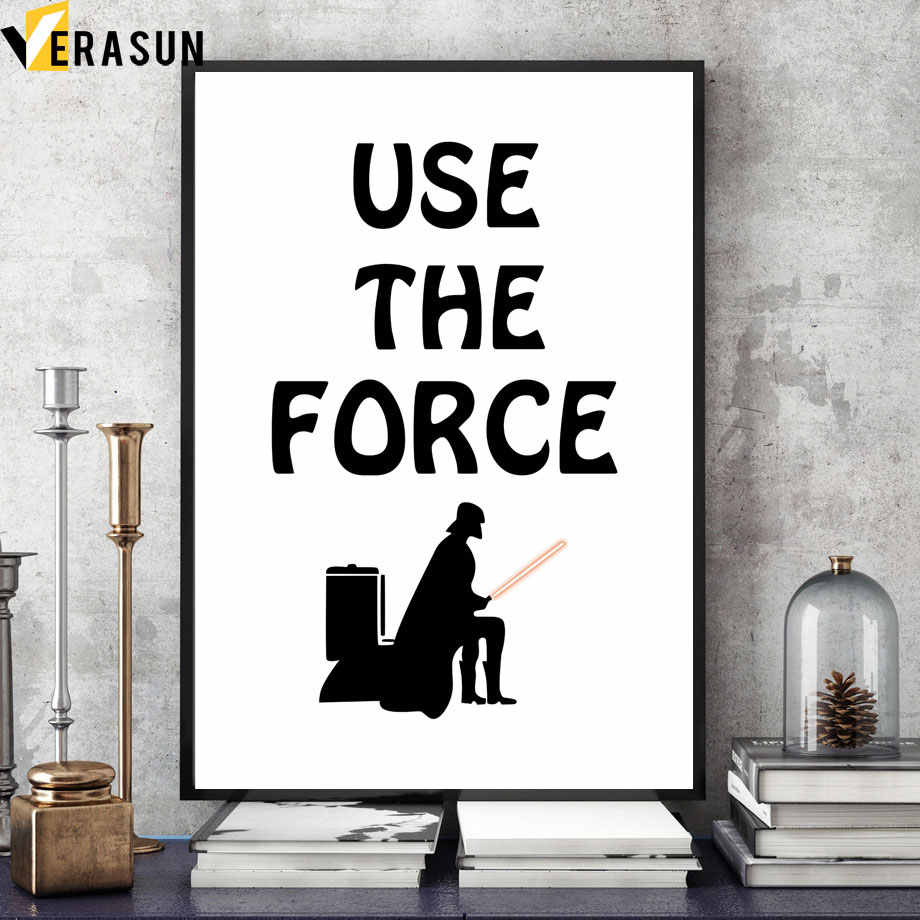 funny star wars darth vader toilet paper note quote wall art canvas painting posters and prints