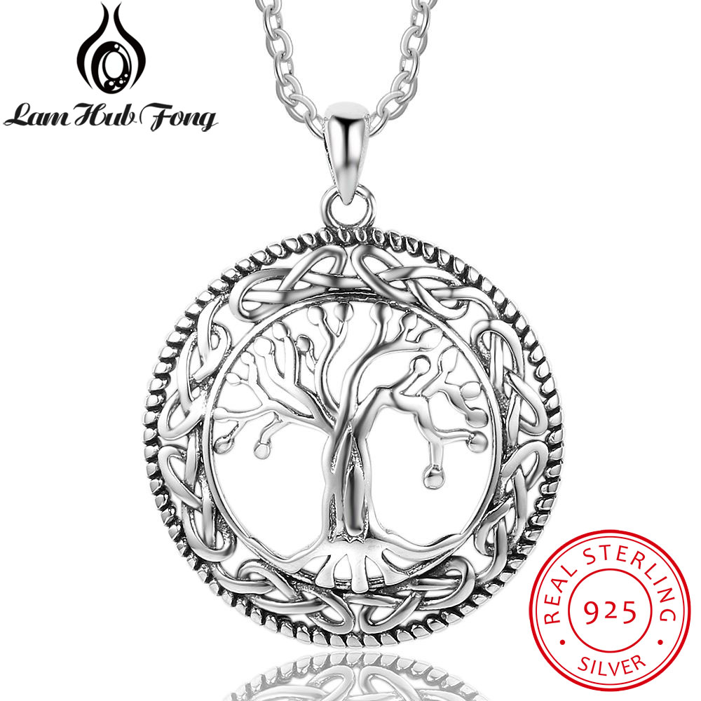Vintage 925 Sterling Silver Tree of Life Round Pendant Necklace Women Silver Jewelry Birthday Gift for Grandma (Lam Hub Fong)(China)