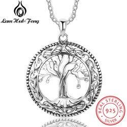 Vintage 925 Sterling Silber Baum des Lebens Runde Anhänger Halskette Frauen Silber Schmuck Geburtstag Geschenk für Oma (Lam Hub fong)