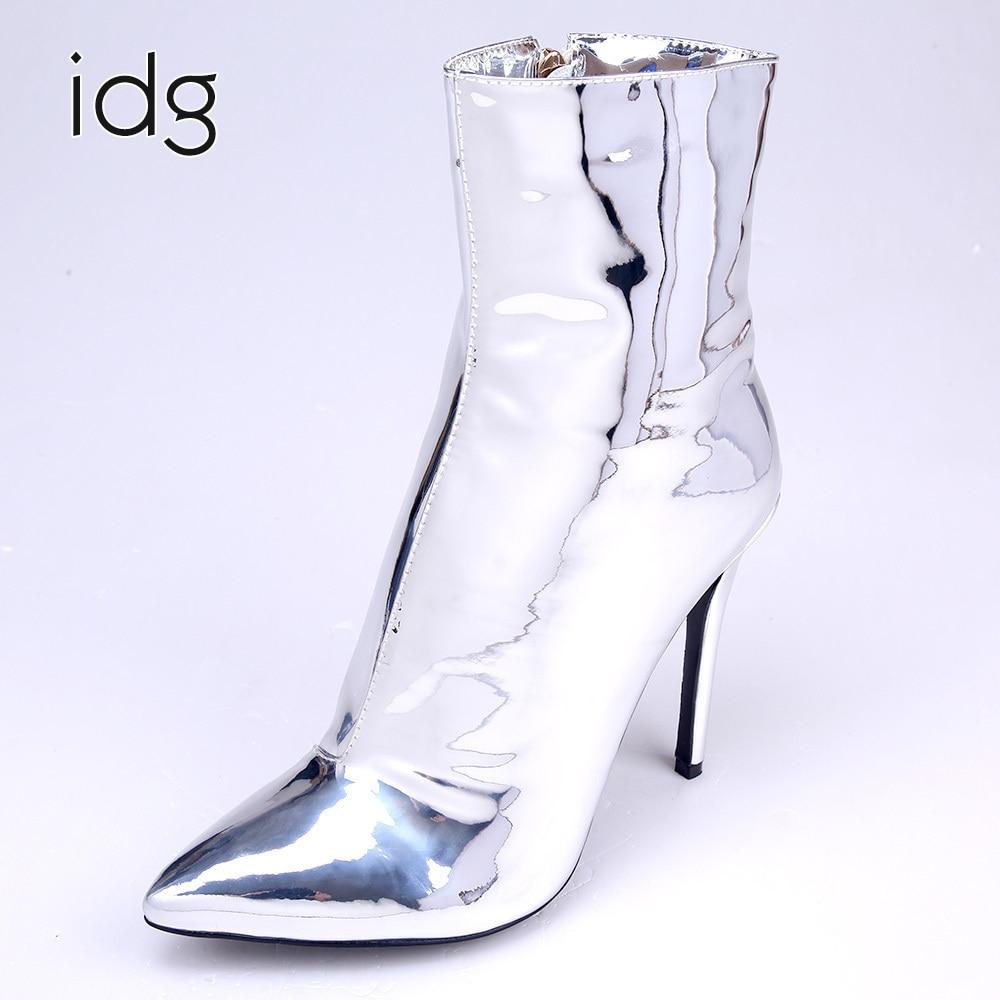 Idg Brand Reflective Silver Personality Pointed Metallic Sense High Heels feminina Woman Boots Winter Plus Plush Keep Warm фен elchim 8th sense icy silver 03082 32