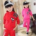 Moda infantil Roupas Casaco E Calças de Algodão Gato Dos Desenhos Animados Padrão Biquini Infantil Menina Personagem Meninas Conjuntos de Roupas