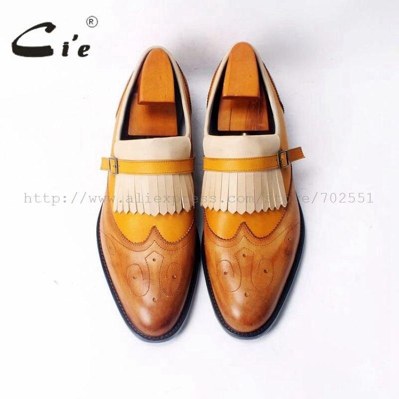 CIE заказ на заказ ручной работы Мужская кожи теленка верхней внутренняя подошва повседневные цвет коричневый обувь Лоферы 49 клей Craft