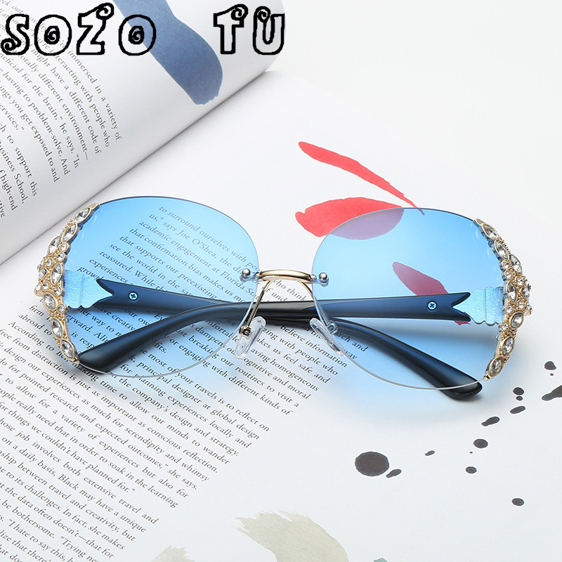 SOZO TU Fashion Women Sunglasses for sale Brand Glasses Big Frame Crystal Square Diamonds Designer Oversize Sunglasses ...