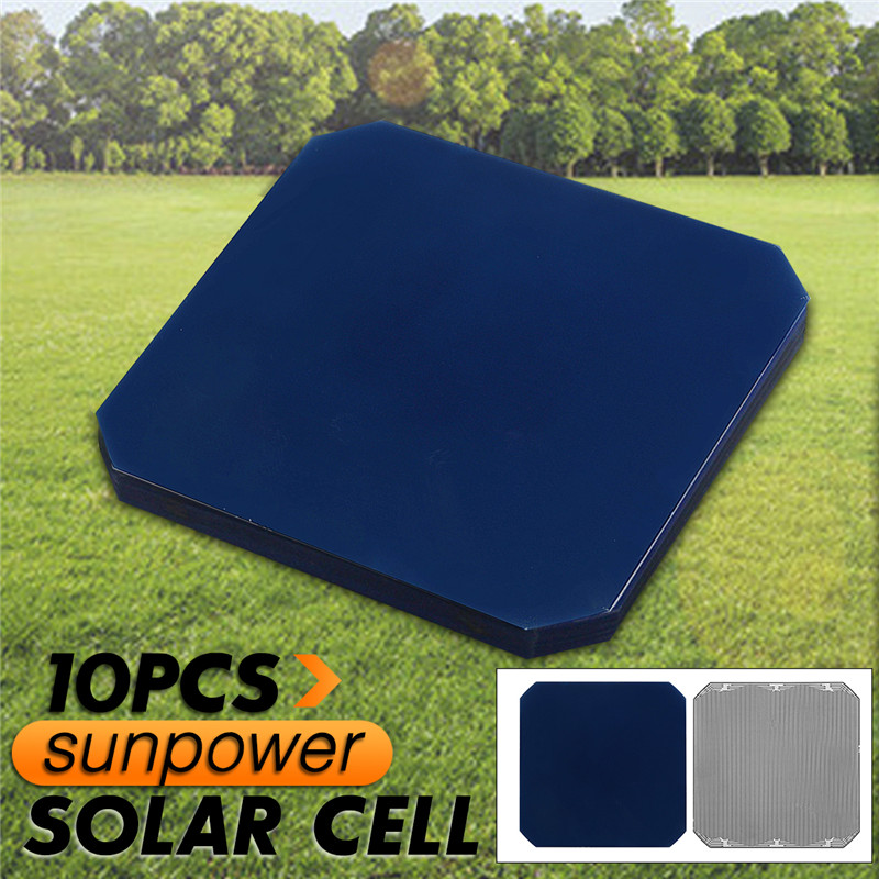 A Set 10PCS 125*125cm JE3 Sunpower Solar Cell With Welding Tape DIY Solar Energy Battery Sunpower