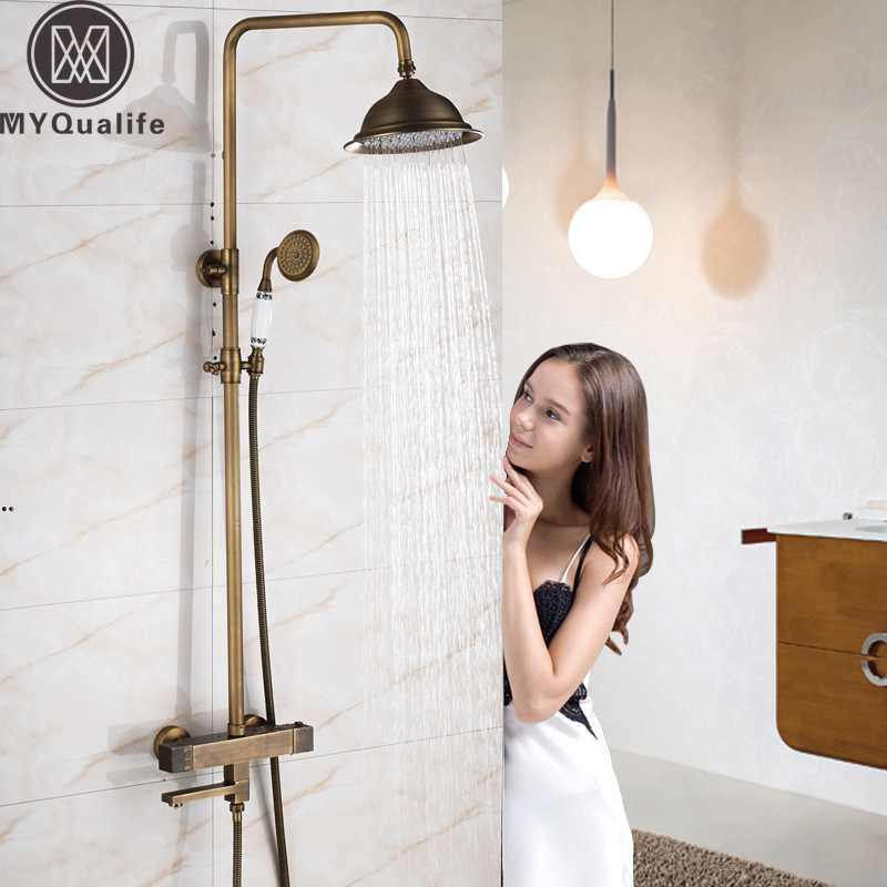 Good Quality Thermostatic Shower Faucet Dual Handle Temperature Control Valve Bath Shower Set Brass Antique Mixer Valve 8 Rain polished chrome wall mount temperature control shower faucet set brass thermostatic mixer valve with handshower