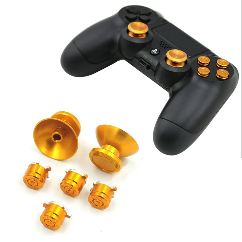 6Pcs Gold Thumb Grip for Playstation 4 PS4 Controller Gamepad Replacement Analog Stick Buttons Metal Bullet Buttons Thumbsticks