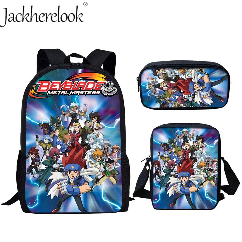 Jackherelook 3 ensembles/pcs sacs d'école Super Cool Beyblade Anime imprimer maternelle cartable sac à dos enfants pour les garçons filles adolescentes