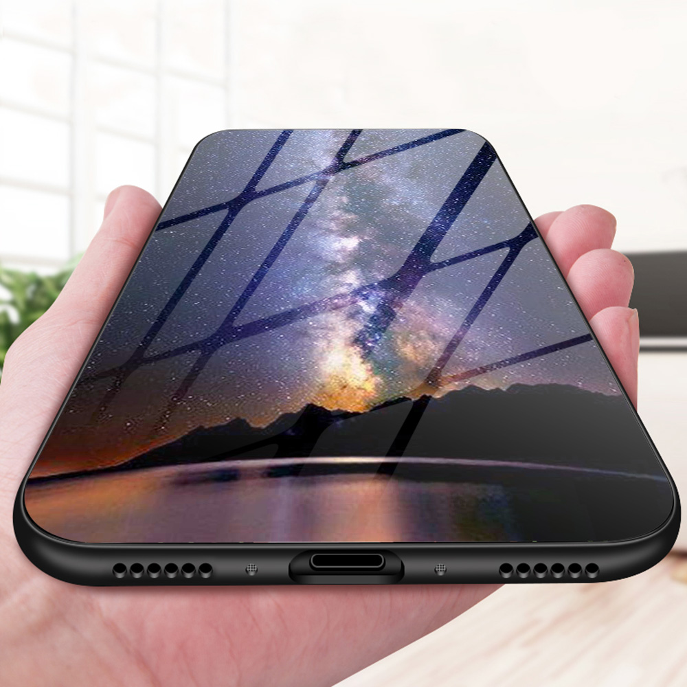 Tempered Glass Case For Xiaomi Redmi 5 6 Cases Silicone Star Space Coque On For Xiaomi Redmi5 Redmi6 Glass Bumper Funda Capa in Fitted Cases from Cellphones Telecommunications