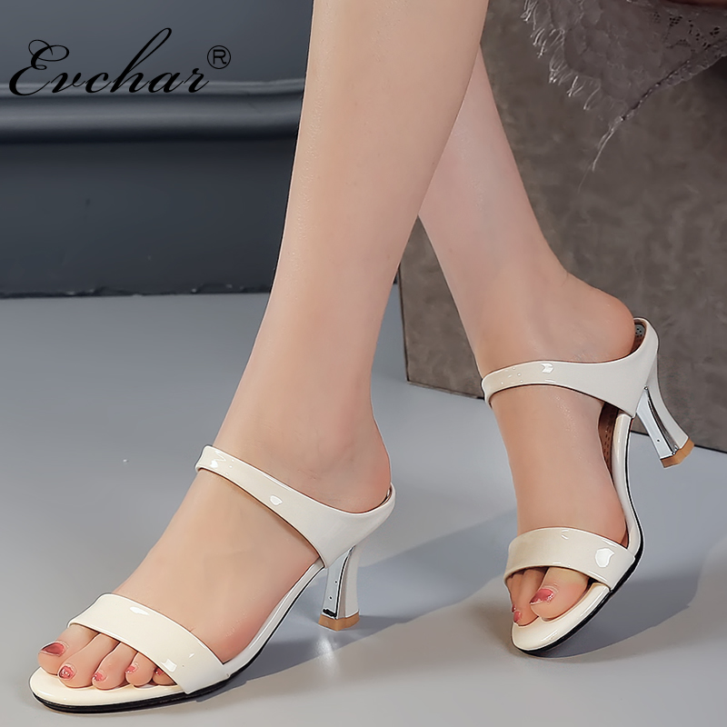 EVCHAR women slippers shoes woman slides square heel shoes summer 3 colors shoes women high heels slippers plus size 31-43 xiaying smile summer woman sandals square heel women slippers slides shoes women pumps fashion casual bling crystal women shoes