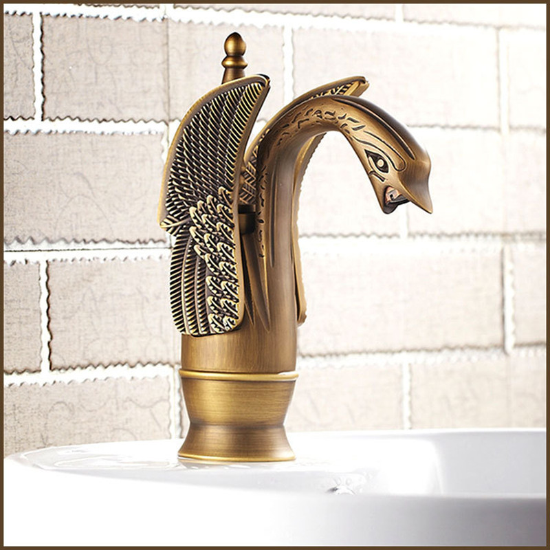 купить Free shipping Hot sale Swan Antique bathroom basin faucet of hot cold antique basin sink mixer tap with brass kitchen mixer taps в интернет-магазине