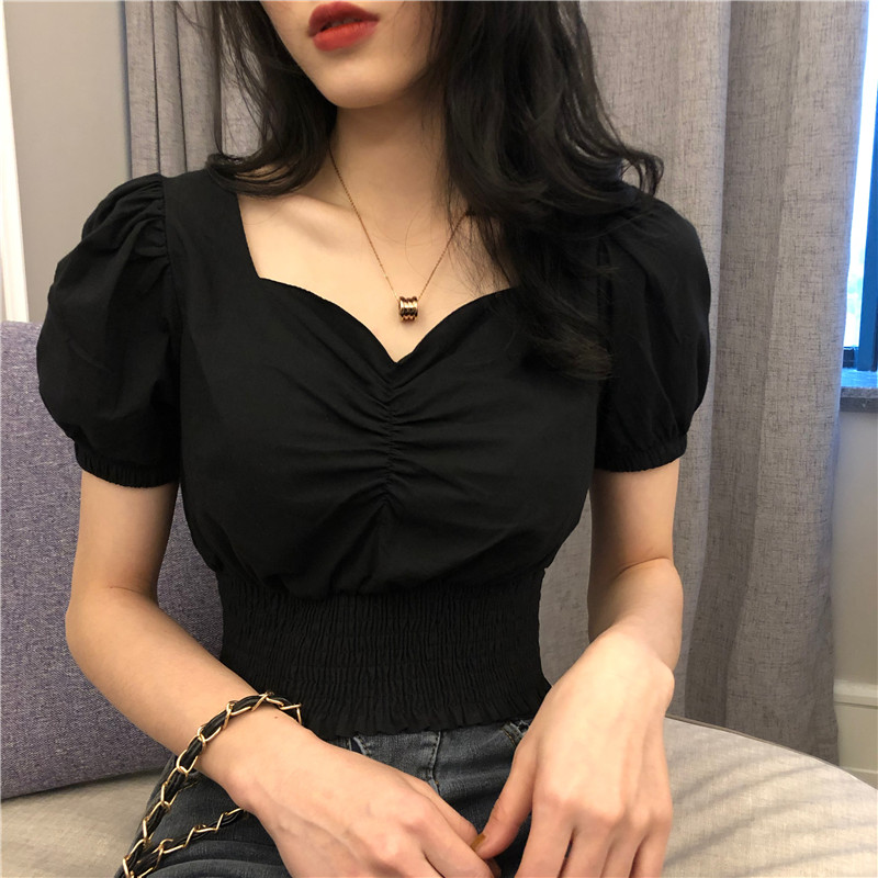 2019 Summer Vintage Short Sleeve Sexy V Neck Blouse Black Crop Top Party Club Woman Shirts Korean Chic Blouse Blusas Mujer