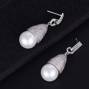 Image 5 - GODKI 45mm luxe Imitation perle cubique zircone CZ fiançailles femmes fête de mariage discothèque Statment boucle doreille
