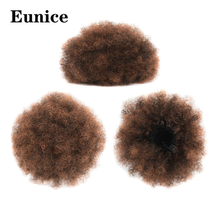 8 Inch Ombre Synthetic Puff Afro Short Kinky Curly Chignon Hair Bun Drawstring Ponytail Wrap Hairpiece Fake Hair Extensions(China)