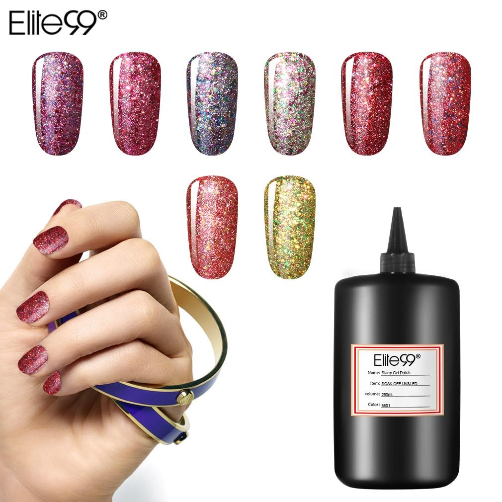 Elite99 30 couleurs 250 ml Bling étoilé vernis à ongles vernis à tremper UV manucure colle Semi permanente laque