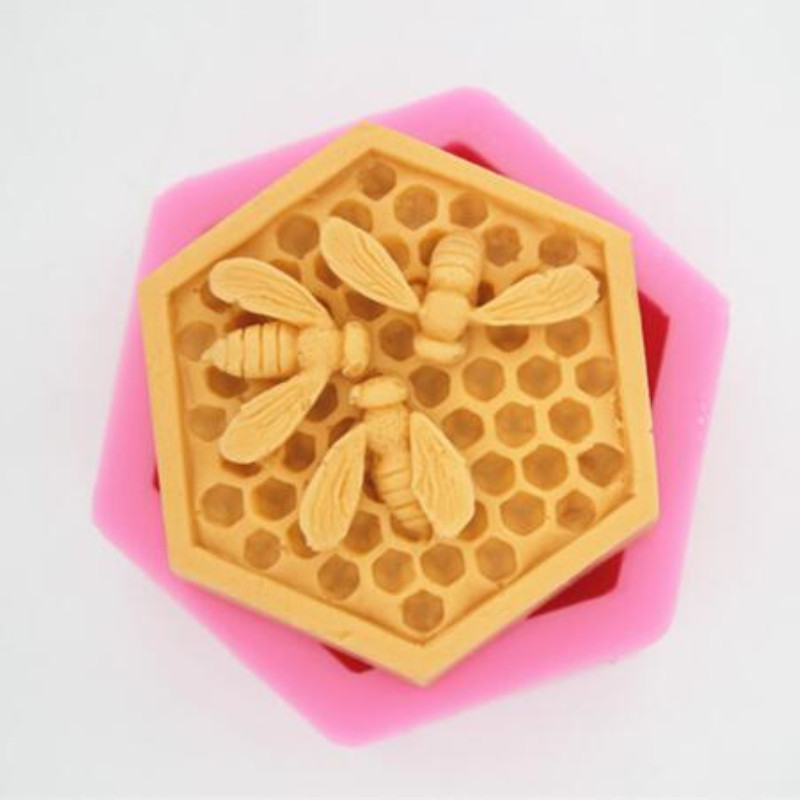 DIY 3D Bee Honeycomb Silicone Chocolate Cake Mold Candle Handmade Soap Mould
