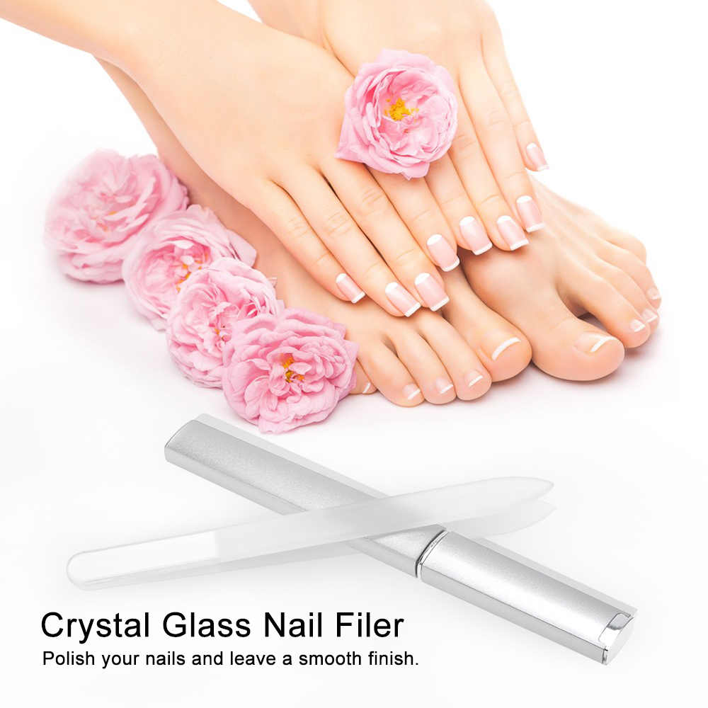 Chic Glass Nail File Buffer Crystal Nail Files Manicure Device Double Side Nail Sanding Polishing Buffing Tool With Barrel Box
