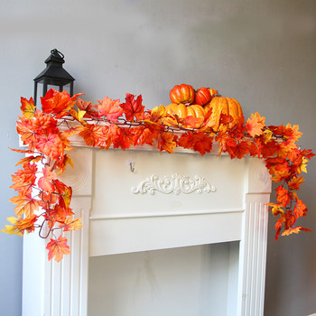 Halloween Decoration 1.7M LED Lighted Fall Autumn Pumpkin Maple Leaves Garland Thanksgiving Home Party Decor 5O0824 1