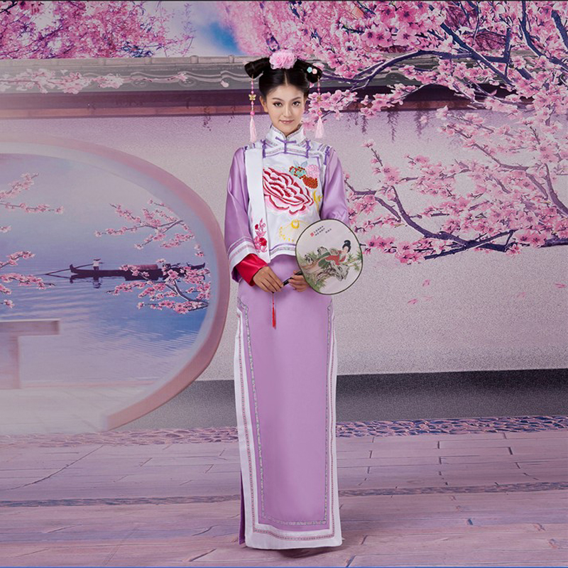 Superbe chinois ancien Infanta dramaturgique robe Photo robe Qing dynastie cheong-sam broderie robe Cosplay taille unique 081813