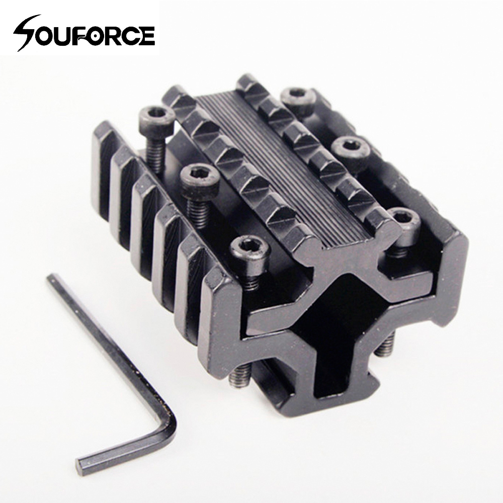 Hotsales Hunting Accessories Universal 4 Rail On Barrel Of 20 Mm Mount Picatinny And Weaver Rail With 5 Slots Free Shipping K