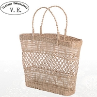 Vintage embroidery Women handmade braided Straw Bag woman Holiday travel beach handbags Indian Thai Woven Bohemian Tote Bag