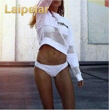 Laipelar 2018 New Sexy Women Loose T-Shirt Top Cotton Long Sleeve Black White Print Hollow Out Shirt Mesh Sweatshirt