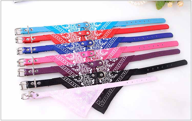 Cute Small Dog Collars Puppy Pet Slobber Towel Puppy Dogs Cats Scarf Adjustable Designer Dog Collar Black Pink Red Blue Purple Wholesale9