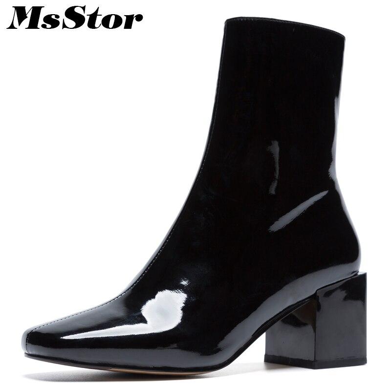 MsStor Square Toe High Heel font b Women b font font b Boots b font Casual