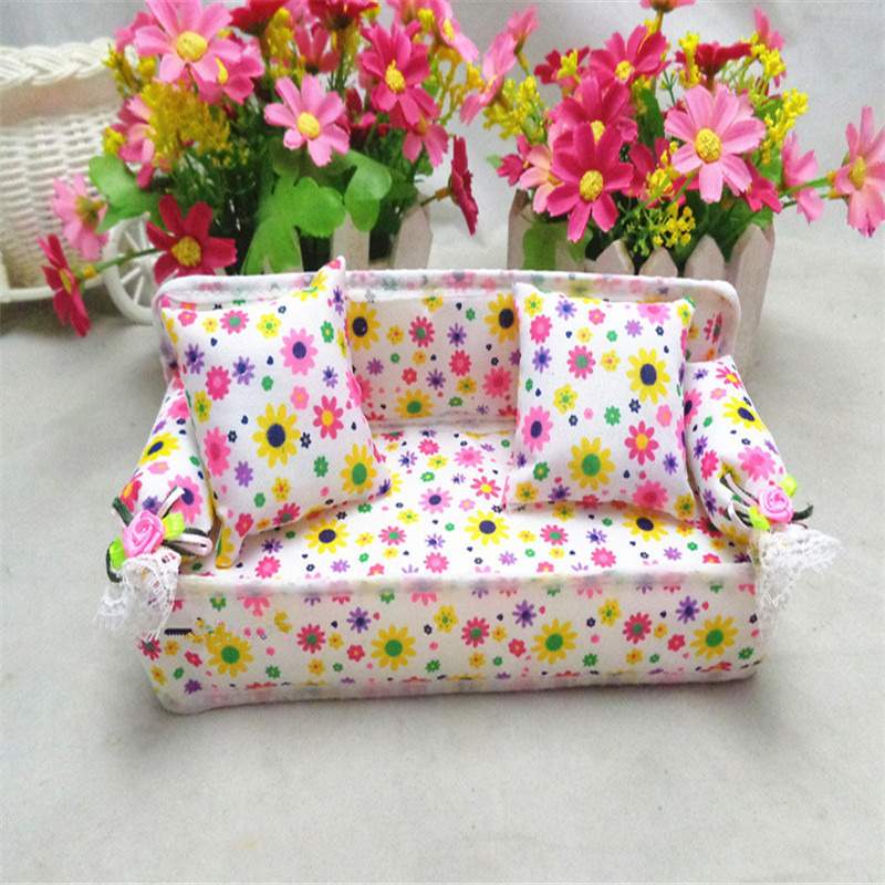 Mini Sofa Toy Flower Print Baby Toy Plushed Stuffed Toys