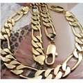 Statement Jewelry Set  Yellow Gold Filled Mens Necklace+Bracelet Set