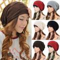 Unisex Women Winter Plicate Baggy Beanie Knit Crochet Ski Cap Oversized Slouch Hat  1P8N