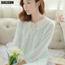 spring and autumn women pure cotton nightgown sexy long-sleeved ancient royal lounge nightdress