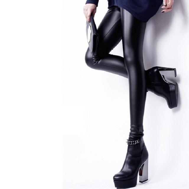 A nova Primavera 2016 calças de Maternidade calças de couro PU. Leggings finas barriga prop. nove para grávidas calças mulheres lápis