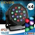 4 stücke 18x3 watt Par LED Bühne Licht Bar Sound Aktiv