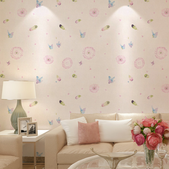 Free Shipping Pastoral Dandelion Butterfly Wallpaper Pink Romantic ...