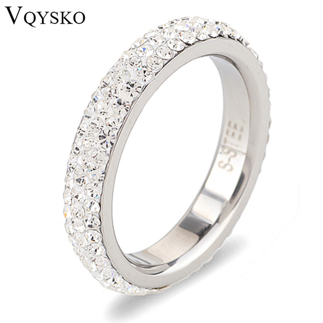 Full Size Three Row Clear Crystal Stainless Steel Wedding Rings Fashion Jewelry Made With Genuine Cz