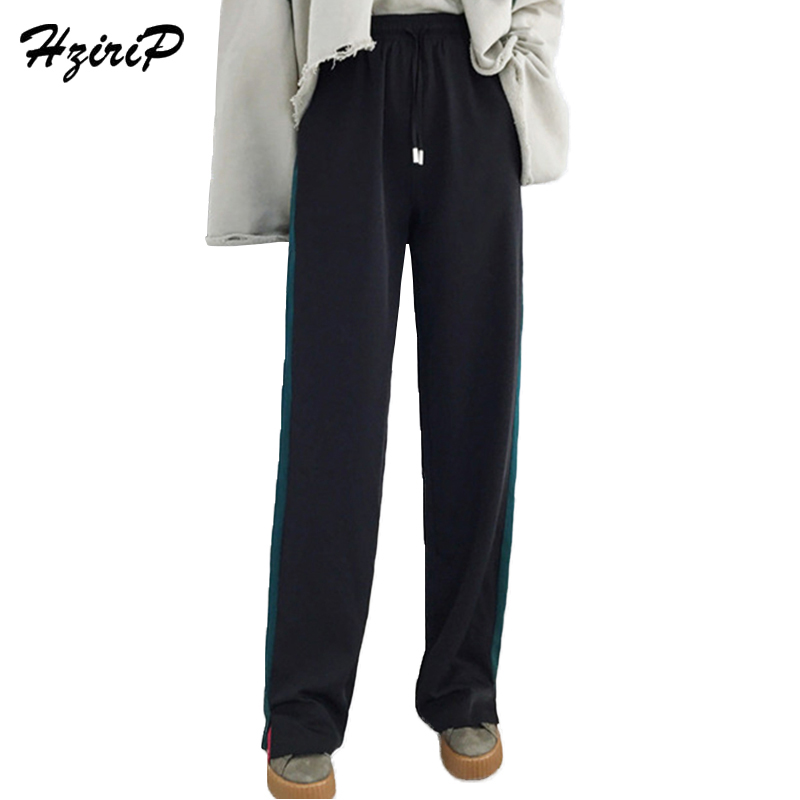 HziriP New Women Wide Leg Pants Loose High Waist Dacron Pants Spring Autumn Split  Ladies Fashion Green Side Striped Casual Pant -in Pants   Capris from ... 263bf12a177