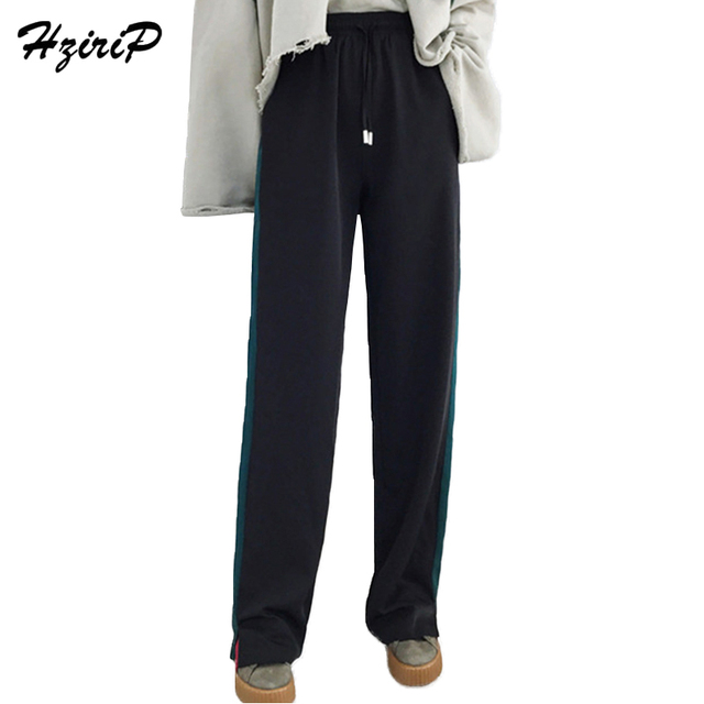 HziriP New Women Wide Leg Pants Loose High Waist Dacron Pants Spring Autumn Split  Ladies Fashion 7f22c0d950d