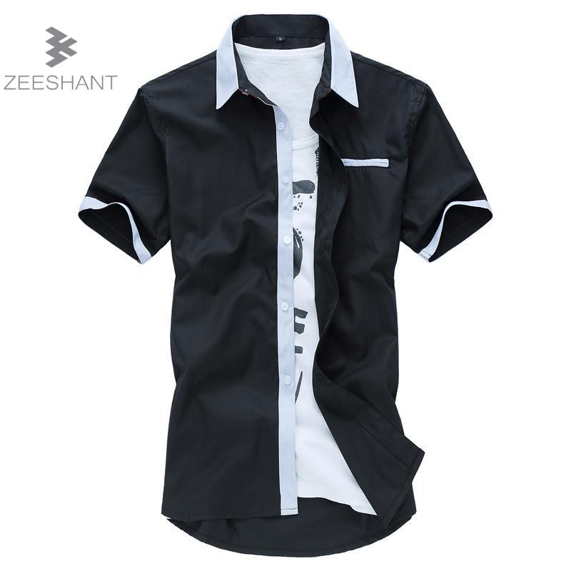 Zeeshant xxxxxxl summer men button down shirts short for Mens black short sleeve dress shirt