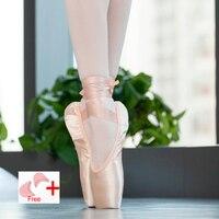 Pointe атласа верх с лентой обувь для девочек женские розовый Professional балетные костюмы обувь для танцев губкой/силиконовые подушечки