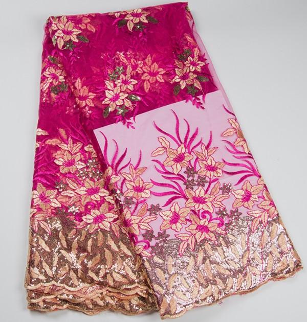 5 야드 / pc 좋은 판매 자홍색 프랑스어 그물 레이스 원단 작은 장식 조각 꽃 패턴 아프리카 메쉬 레이스 옷 BN46-5