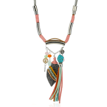 MIARA.L New Style Jewekry Blue Necklace National Wind Leaves Tassel Necklace