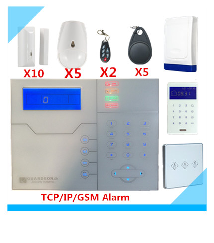 LCD Touch Screen RFID Support wireless TCPIP GSM Alarm System Smart Security Home Alarm system with Big outdoor Sounds Siren g2bx intercom wireless gsm sms securtiy alarm system touch lcd sensors built in speaker without antenna wireless outdoor siren