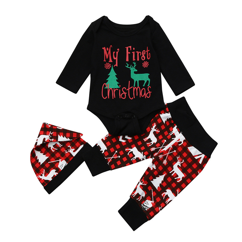 Christmas newborn baby boy girl fashion suit childrens cotton envelope hooded jacket + pants Christmas equipment set