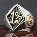 Band Party 316L Stainless steel Cool Golden Biker 1%er Mens Ring Skull Biker Ring