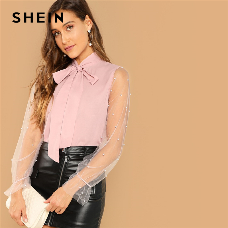 Women Chiffon Blouse Turn Down Collar Popsicle Print Short Sleeve Pink Shirts Top Loose Tie Up