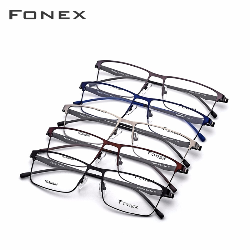 Gafas graduadas de aleación de titanio hombres ultraligero cuadrado miopía prescripción gafas Metal marco óptico sin tornillos gafas - 5