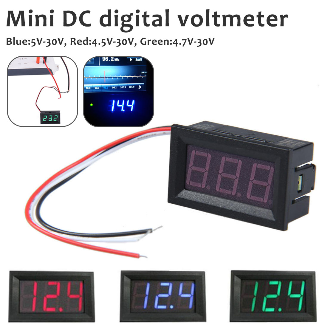 New DC 4.5V To 30V Digital Voltmeter Voltage Panel Meter Red/Blue/Green For Electromobile Motorcycle Car