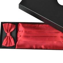 Men's Tuxedo Business Tie Solid Handkerchiefs Waist Cummerbunds High Quality No pleats Three Accessories